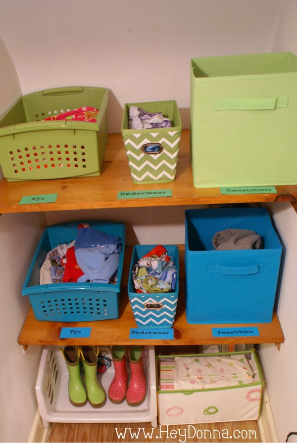 Organized kid closet shelves