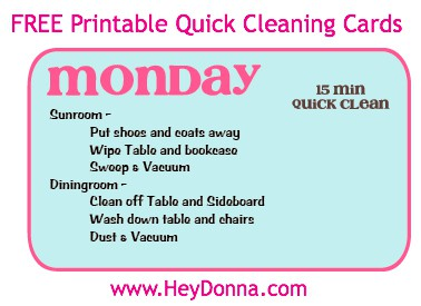 FREE Printable Quick Cleaning Cards