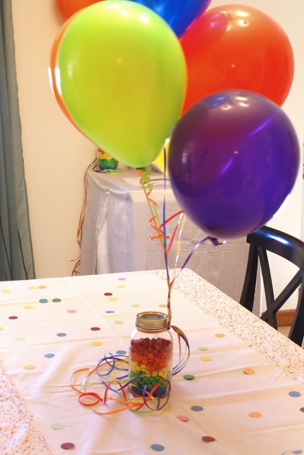 M&M Centerpieces for Rainbow Birthday Party