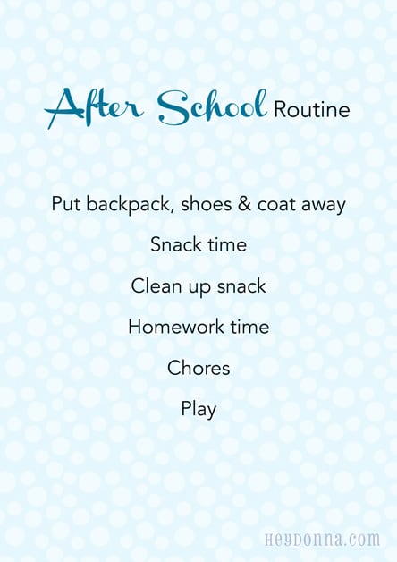 After School Routine for Children - Printable