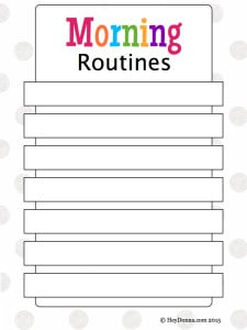 Morning Routines Printable