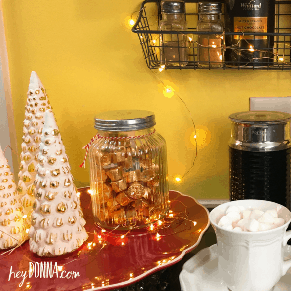 copper wire twinkle lights at coffee bar
